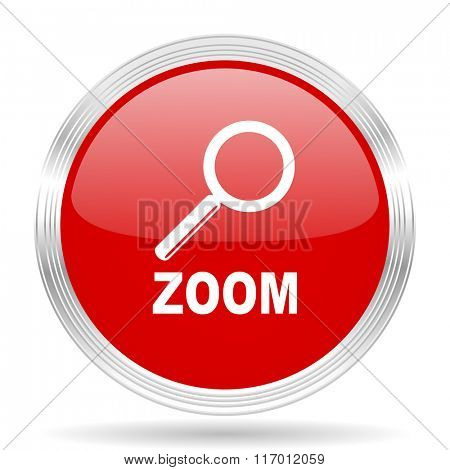 zoom red glossy circle modern web icon on white background