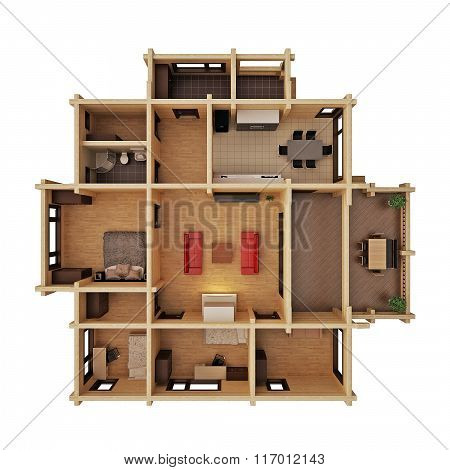 High-rise apartment a pulp of brick on a white background 3D illustration, 3D render
