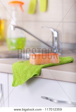 Dishwashing Tool On Kitchen Countertop