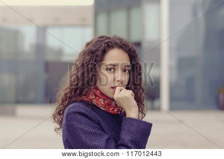 Girl Is On The Street And Looks Very Surprised