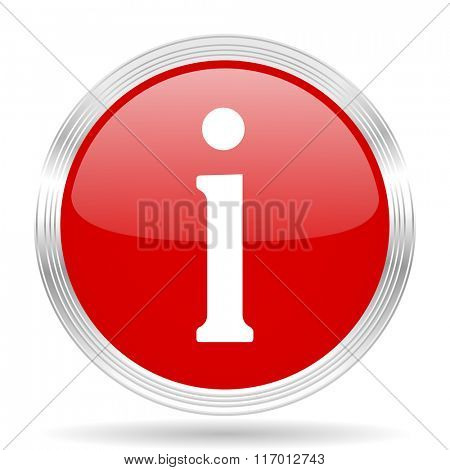 information red glossy circle modern web icon on white background