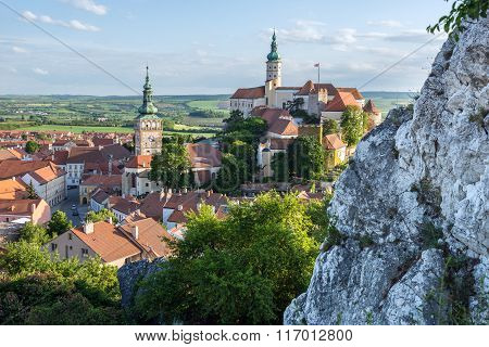 Aerial view on Mikulov town in Czech Republic with Castle and bell tower of Saint Wenceslas Church
