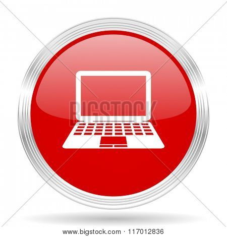 computer red glossy circle modern web icon on white background