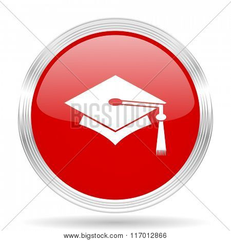 education red glossy circle modern web icon on white background