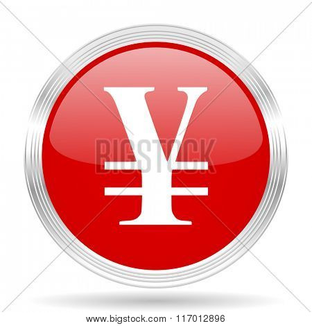yen red glossy circle modern web icon on white background