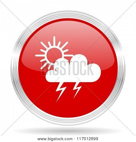 storm red glossy circle modern web icon on white background