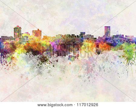 Billings Skyline In Watercolor Background