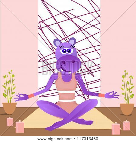 Cartoon Hippopotamus Yoga Girl In Lotus Position