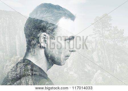 Young Adult Caucasian Man, Profile Portrait