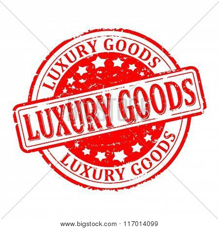 Damaged Round Red Stamp With The Word - Luxury Goods - Vector
