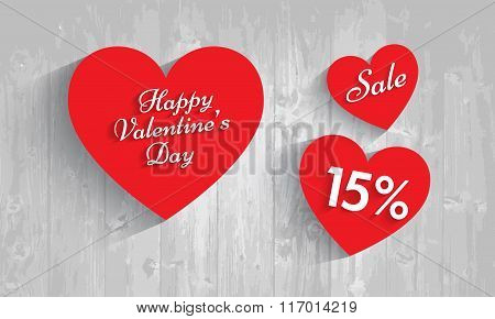 Valentine`s Day Sale, 15  Percent Discount. Vector Eps 10.