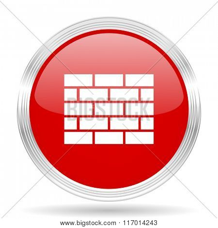 firewall red glossy circle modern web icon on white background