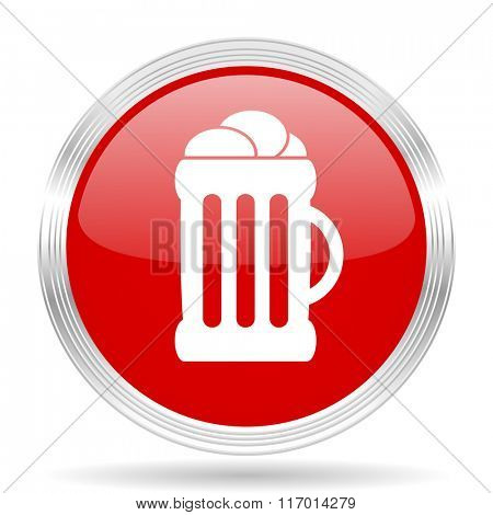 beer red glossy circle modern web icon on white background