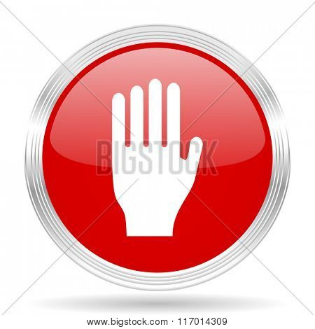 stop red glossy circle modern web icon on white background