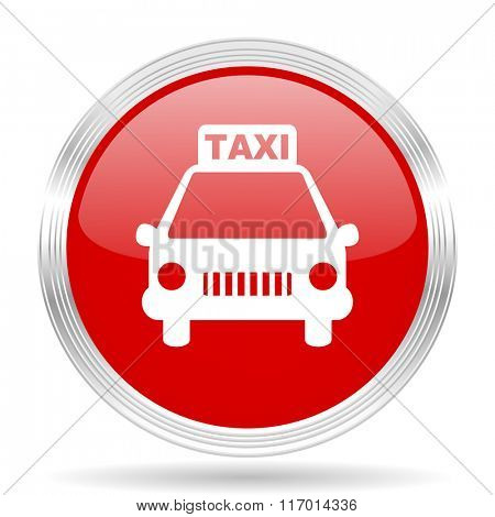 taxi red glossy circle modern web icon on white background