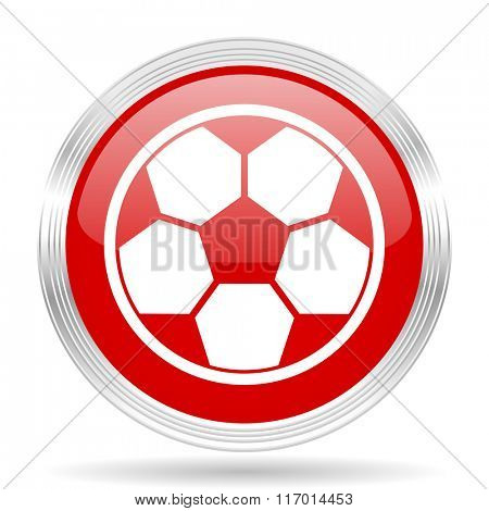 soccer red glossy circle modern web icon on white background