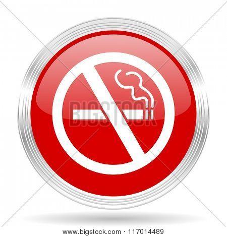 no smoking red glossy circle modern web icon on white background