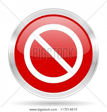 access denied red glossy circle modern web icon on white background