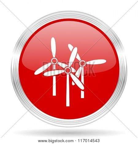windmill red glossy circle modern web icon on white background