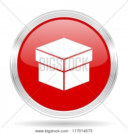 box red glossy circle modern web icon on white background