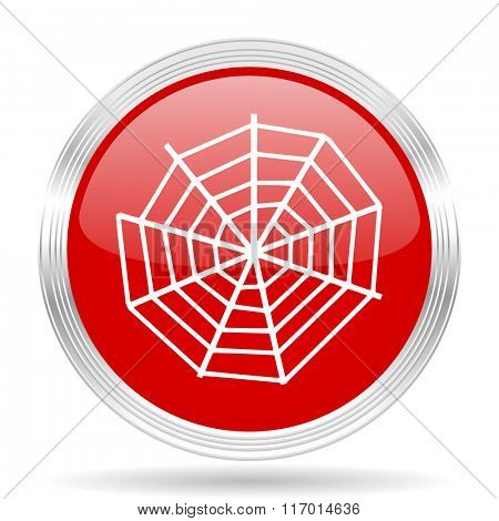 spider modern web red glossy circle modern web icon on white background