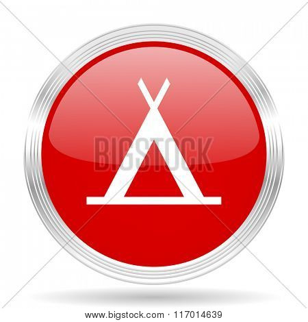 camp red glossy circle modern web icon on white background