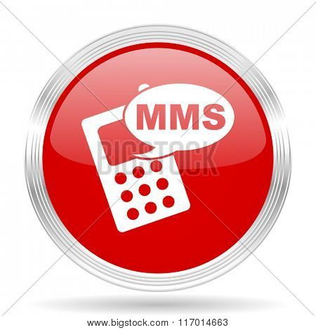 mms red glossy circle modern web icon on white background