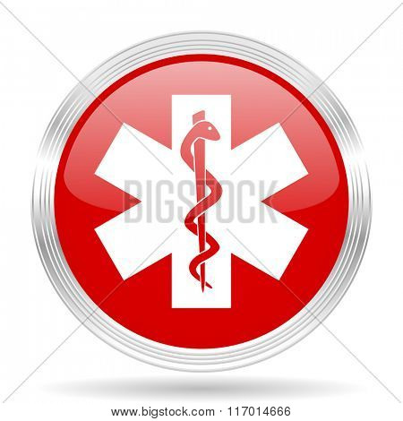 emergency red glossy circle modern web icon on white background
