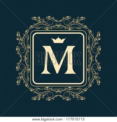 Monogram Design Elements, Graceful Template. Elegant Line Art Logo Design. Letter M. Business Sign,