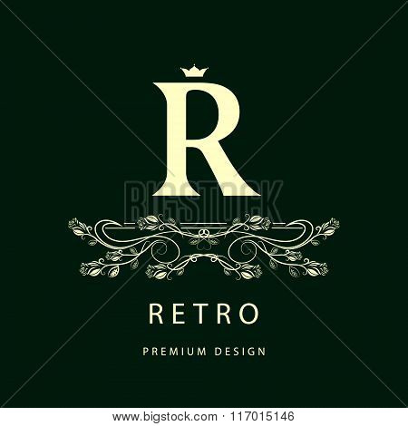 Monogram Design Elements, Graceful Template. Elegant Line Art Logo Design. Letter R. Business Sign,