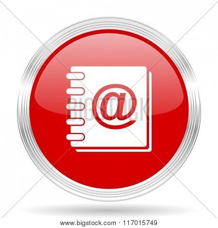 address book red glossy circle modern web icon on white background