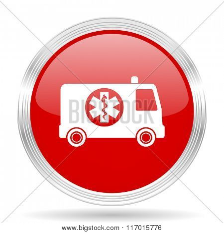 ambulance red glossy circle modern web icon on white background