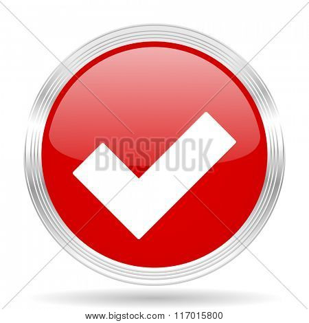 accept red glossy circle modern web icon on white background