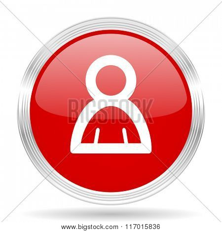 person red glossy circle modern web icon on white background