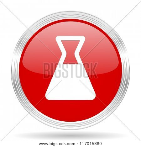 laboratory red glossy circle modern web icon on white background