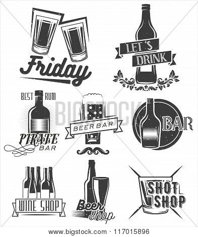 Friday is time to drink. Vector set of weekend party labels in vintage style. Badges, emblems and is