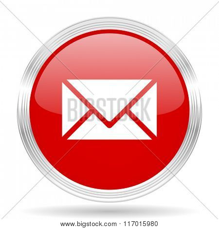 email red glossy circle modern web icon on white background