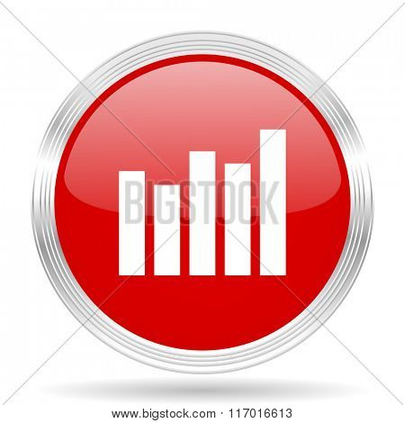 graph red glossy circle modern web icon on white background