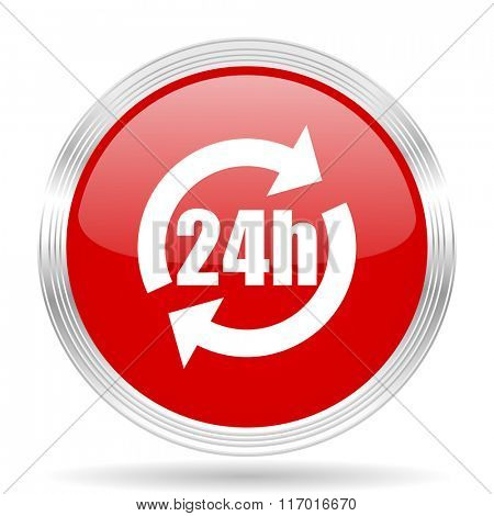 24h red glossy circle modern web icon on white background