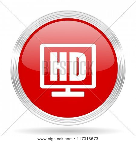 hd display red glossy circle modern web icon on white background