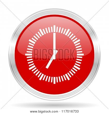 time red glossy circle modern web icon on white background