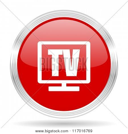 tv red glossy circle modern web icon on white background