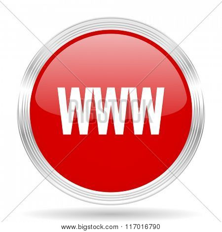 www red glossy circle modern web icon on white background