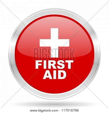 first aid red glossy circle modern web icon on white background