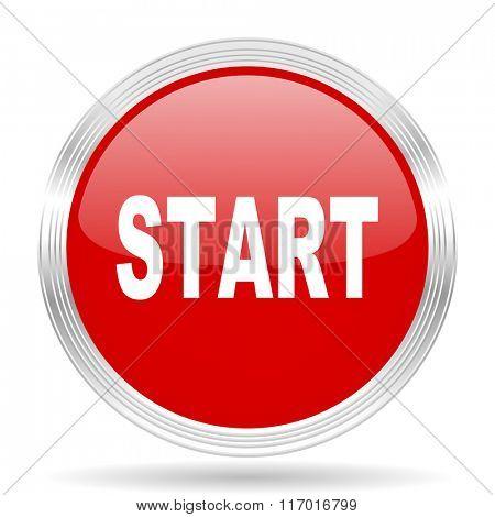 start red glossy circle modern web icon on white background