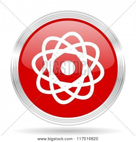 atom red glossy circle modern web icon on white background