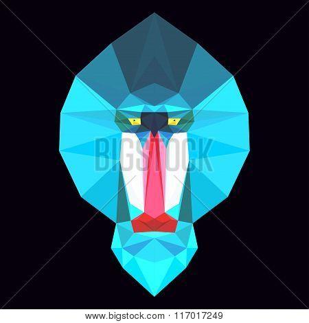 Abstract geometric polygonal mandrill monkey cartoon portrait