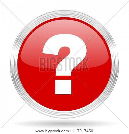 question mark red glossy circle modern web icon on white background