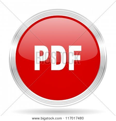 pdf red glossy circle modern web icon on white background