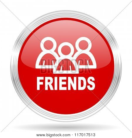 friends red glossy circle modern web icon on white background